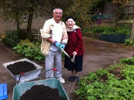 A happy gardening couple